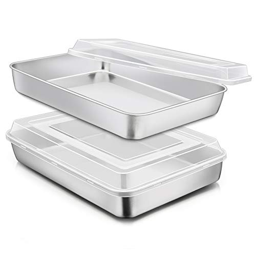 Stainless Steel Baking Pan with Lid, E-far 12⅓ x 9¾ x 2 Inch Rectangle Sheet Cake Pans with Covers Bakeware for Cakes Brownies Casseroles, Non-toxic & Healthy, Heavy Duty & Dishwasher Safe - Set of 2