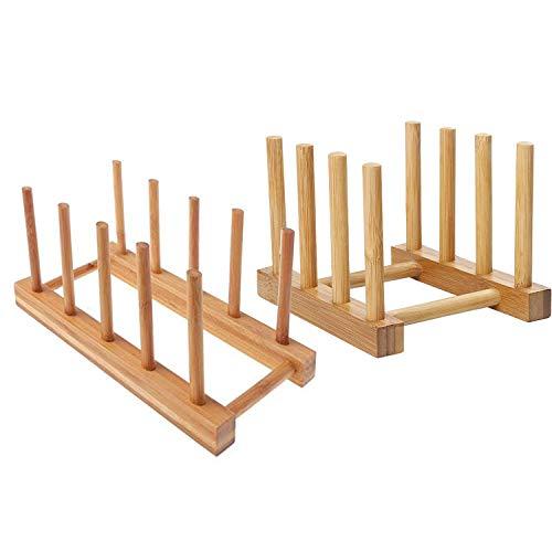 Mein HERZ 2 Pzs Rack de Almacenamiento de Bambú, Bandeja de Goteo...