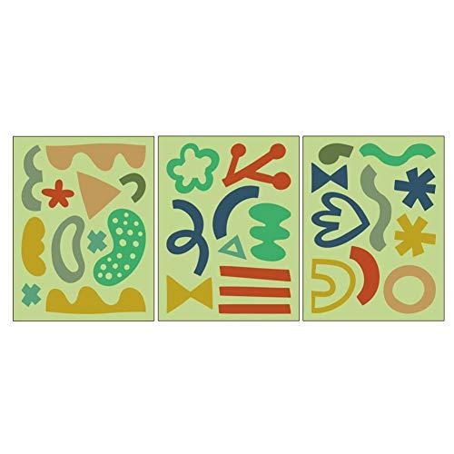 Juego de 3 pegatinas de pared para cuarto de baño, diseño de símbolo luminoso, para niños y dormitorio