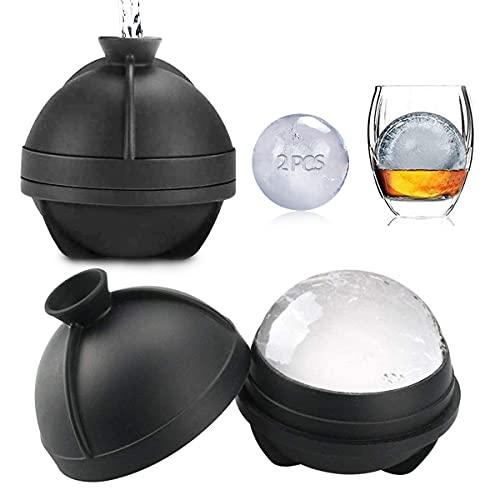 Eiskugelform Set,Silikonform Ice Ball,eiskugelform rund,Silikon-Eiskugel-Maker BPA-frei,eiswürfelschalen,eiswürfelschalen silikon für Bier,Cocktails Whisky 2 Stück