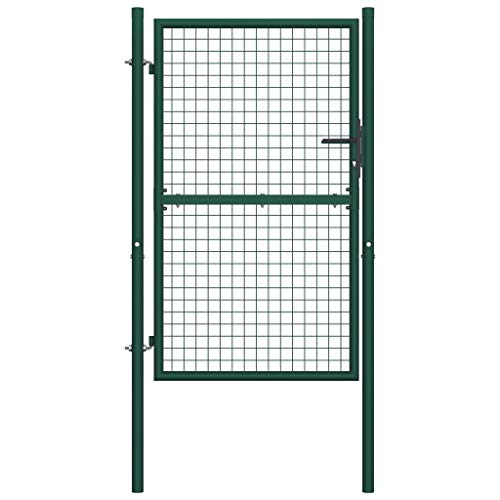 Tidyard Gartentor Metall Zauntor Gartenzaun Gartenpforte Metalltor Einzeltor Einfahrtstor, 100x200 cm Grün