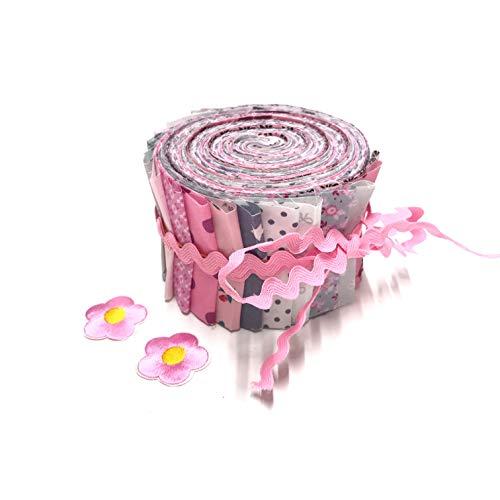 Jelly Roll Rosies Summer - die Jelly Roll beinhaltet 20 Streifen à 2,5 Inch (=6,5cm) Breite und 135 cm Länge 100{81e0114bb5ea9a3f56117abedaeac01f24bdd97ed9d4c056239aea955246c82d} Baumwolle 1m Zackenlitze 2X Bügel-Applikationen Blumen