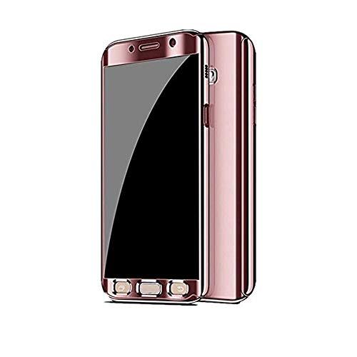 Kompatibel mit Samsung Galaxy S7 Hülle Mirror Case Spiegel Handyhülle PU Leder Flip Case Cover Handy Schutz Echtleder Tasche Schutzhülle für Samsung Galaxy S7 Edge (Samsung Galaxy S7 Edge, Rose Gold)