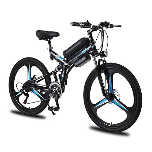 HMEI Bicicleta eléctrica Plegable para Hombres/Mujeres de 26 Pulgadas 350W 10Ah 36V batería de Litio Bicicleta eléctrica Auxiliar Bicicleta de montaña eléctrica multimodo (Color : Azul)