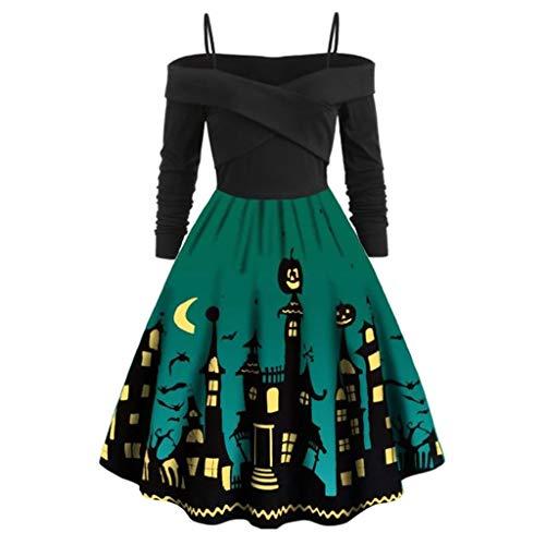 Damen Casual Halloween Kostüm mit Kürbis Drucken Kleid Große Größe,Langarm 1950er Vintage Cocktailkleid Rockabilly Oversize Plus Size Party Kleid,Faltenrock-Schwingen Kleid URIBAKY