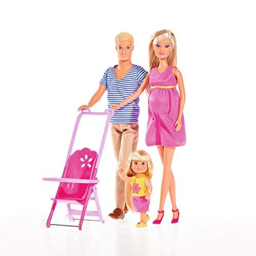 Simba 105733200 - Steffi Love Happy Family /schwangere Puppe / mit Freund Kevin, Schwester Evi Love und Baby / mit Kinderwagen / Zubehör / Ankleidepuppe, für Kinder ab 3 Jahren