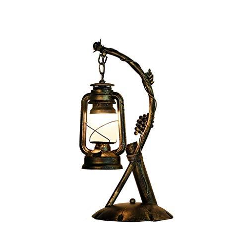 JYDQM Vintage rústico pasada de Moda del Bulbo eléctrico lámpara de Aceite de la lámpara LED lámpara de Mesa de Bronce Rust Mesilla de Noche