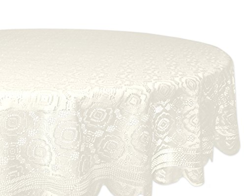 DII Home Essentials 100% Polyester, Machine Washable, Shabby Chic, Vintage Tablecloth or Overlay 63 Round, Vintage Lace Cream