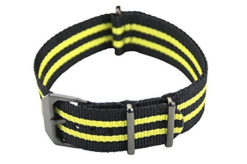 slow - Schwarz gelbes Nylonband mit schwarzem Verschluss - 22mm Breite