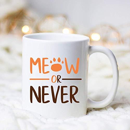 Miau o nunca, taza de café, taza de café del gato, regalo del amante del gato, taza de café del gato, taza de café divertida del gato, adicto al café, taza de café linda del gato, regalos de la mamá d