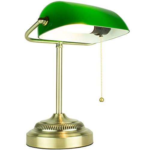 Newhouse Lighting NHDK-MO-GO Morgan Desk Shade, Antique Style Traditional Banker Lamp Perfect for Offices, Reading, Living Rooms-Includes Free LED Bulb, Green/Brass
