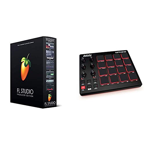 Image Line FL Studio 20Producer Edition & AKAI Professional MPD218 - Portabler 16-Pad-USB/MIDI-Pad-Controller Mit MPC-Pads, zuweisbaren Reglern, Tasten für Notenwiederholung, Produktionssoftware