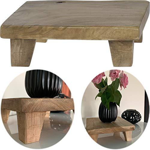 LS-LebenStil Teak Holz-Tischchen 20x20x7cm Blumenständer Etagere Pflanzenhocker