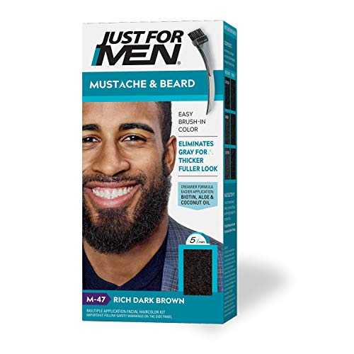 Just For Men Mustache & Beard, Beard Coloring for Gray Hair with Brush Included - Color: Rich Dark Brown, M-47 (Packaging May Vary)