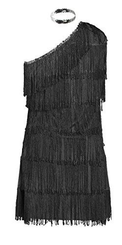 Costume anni 20 da Charleston, firmato Emma's Wardrobe – Include Vestito nero con frange, Fascia, Boa di piume bianche - Costume Charleston per Halloween e Spettacoli – Alta qualità – Taglie EUR 42-44