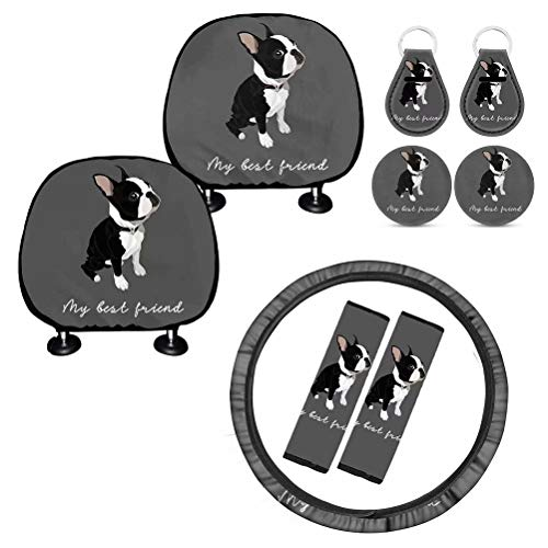 Deeprinter My Best Friend Boston Terrier Car Accessories Set,Included Steering Wheel Cover, Seat Belt Covers, Car Coaster Covers, Key Rings, Seat Head Rest Protector Headrest Cover Cishion