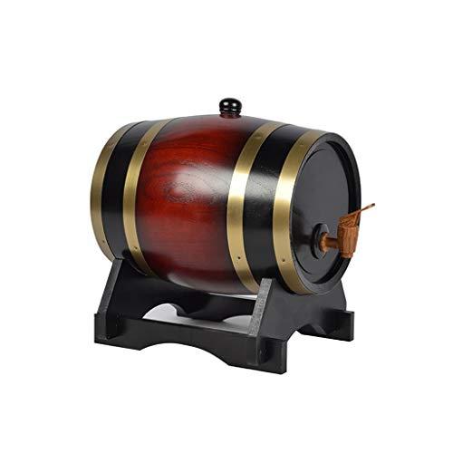 HWhome 1.5L / 3L / 5L / 10L Porta Secchi di Whisky in Legno,Botte di Rovere Distributore d'Acqua Vintage,Adatto A Memorizzazione Il Tuo Whisky Brandy Birra Tequila (retrò Stile)(Size:5L)
