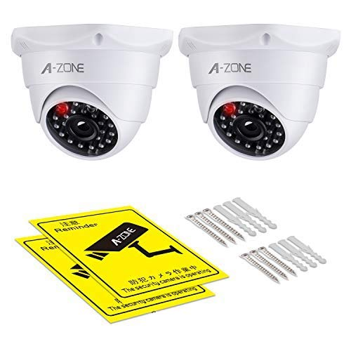 A-ZONE Dummy Fake Security Camera, with Realistic Look Dummy Camera One Lighting Red LED at Night, for Home and Businesses Security Indoor/Outdoor (2 Pack)