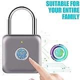 Candado con huella digital Mini candado inteligente Carga USB sin llave Cerradura biométrica de alta seguridad para casillero de gimnasio, casillero, maletas (gris)