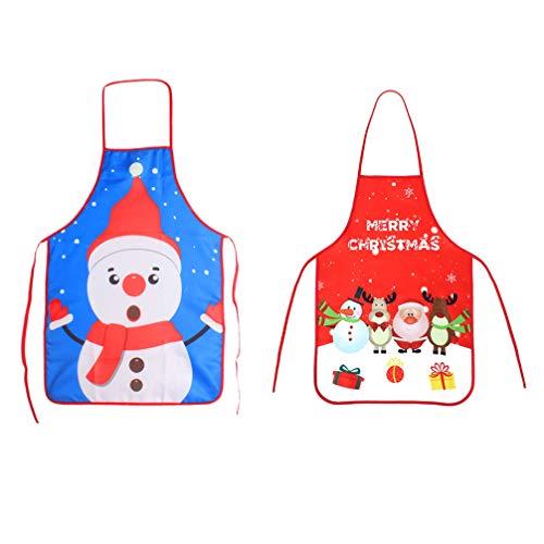 PIXNOR 2Pcs Grembiuli di Natale Adulto Pupazzo di Neve Grembiuli di Babbo Natale Cucina Regolabile Grembiule da Cucina per La Festa di Natale Chef Cucina Ristorante Pulizia della Casa