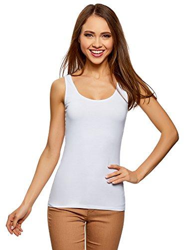 oodji Collection Mujer Camiseta de Tirantes Básica, Blanco, ES 34 / XXS