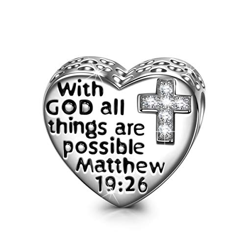 NINAQUEEN Religious Cross 925 Sterling Silver Charms with GOD All Things Are Possible Beads Charms for Pandöra Charm Bracelets Necklace Prayer Love Heart Shape Charms