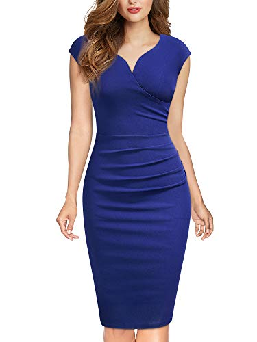MIUSOL Damen Elegant Etuikleid Sommer Kleid V-Ausschnitt Caparm Vintage Businesskleid Blau Gr.2XL