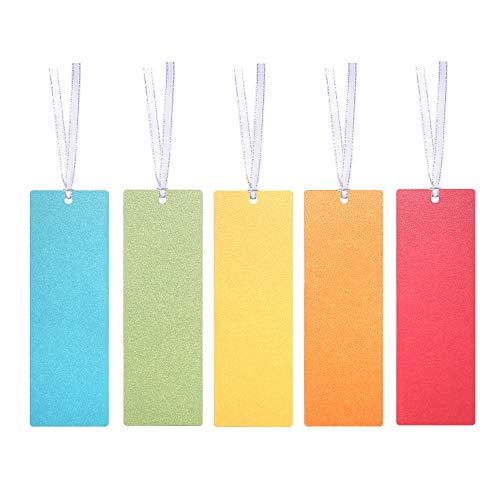 Blank Colored Paper Bookmarks with Ribbon, for DIY Classroom Project, School Crafts, Gift Tags, Pack of 30 by Quotidian