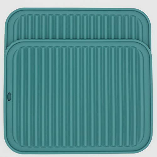 Smithcraft Big Silicone Trivets Table Mats Placemats Pot Holder Hot Pad Multi-Purpose Use and Many Colors for Choose (Teal-Rectangular)
