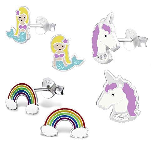 925 Sterling Silver Set of 3 Pairs Mermaid, Purple Unicorn, Rainbow Stud Earrings (Nickel Free)