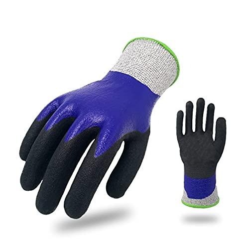 Guantes de trabajo totalmente revestidos - Guante de nitrilo de espuma resistente a cortes con pantalla táctil; Impermeable, resistente a cortes, revestimiento de espuma de nitrilo, XL