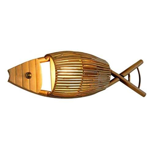 LLLKKK Lámpara de pared creativa de bambú lámpara de pared personalidad pescado lámpara restaurante luces bambú hecho a mano madera A