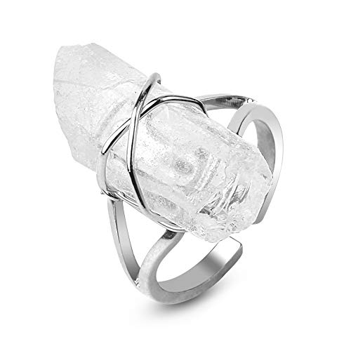 24 JOYAS Anillo Piedra Natural de Cuarzo Ajustable Envuelto en Alambre Plateado – Preciosa Alianza Cristal de Piedra para Regalo romántico y Elegante para Mujer