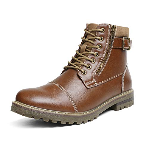 Bruno Marc Men's Engle-05 Brown Motorcycle Combat Oxford Boots Size 9.5 M US
