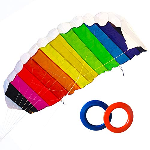 ZHUOYUE Dual line Stunt Kite 47 inch Large Parafoil Kite with Flying Tools,Funny Flying Toys for Outdoor Sports and Activities