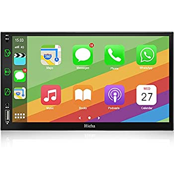 Double Din Car Stereo Apple Carplay and Android Auto 7 Inch Touch Screen Car Audio Receiver Support Phone Mirror Link/USB/AUX/Bluetooth AM/FM Voice Control Car Entertainment Multimedia with Camera