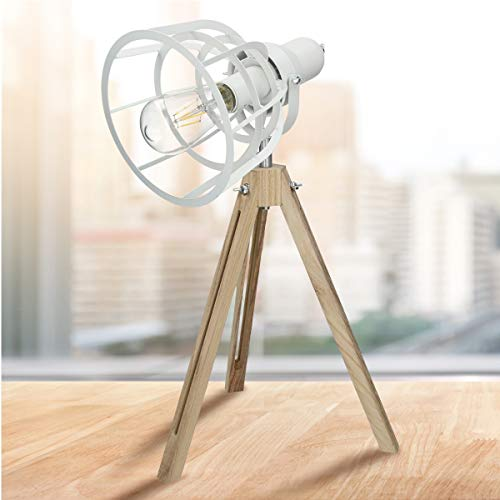 ECD Germany Lámpara de Mesa LED Trípode 54cm Diseño Vintage/Retro Luz de Cabecera Blanco Mate Mate Foco Iluminación Escritorio Lectura Casquillo E27 Clásica Pantalla Giratoria de Metal