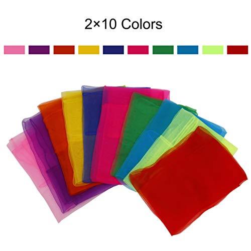 ISIYINER Pañuelos de Baile 20 Piezas Pañuelos de Malabares Multicolor Cuadrado Pañuelos Mágicos de Seda para Niños Chicas Actividades de Fiesta decoración y Juegos Accesorios 60 * 60cm 10 Colores