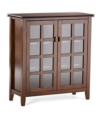 Simpli Home Artisan Solid Wood 38 inch Wide Contemporary Medium Storage Cabinet in Russet Brown