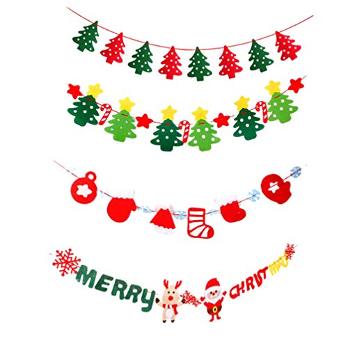 Amosfun 4 Stks Kerst Banner Holiday Garland Banner muur opknoping Kerstmis Bunting Decor Thuis Mantle Open haard Party Decoraties 300*20cm Afbeelding 1