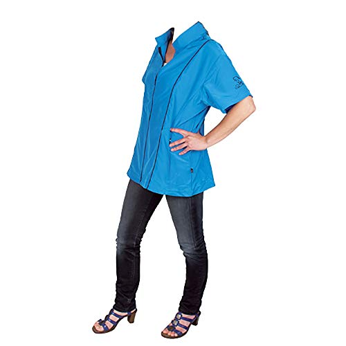 blouse, engela, turquoise, glad en geborduurd.