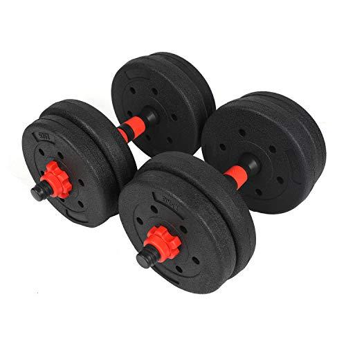 #DoYourSports Juego de Mancuernas Ajustables con Barra Adicional - Pesas Gimnasia en Casa - Entrenamiento de Fitness para Hombres y Mujeres - 15 kg Rojo