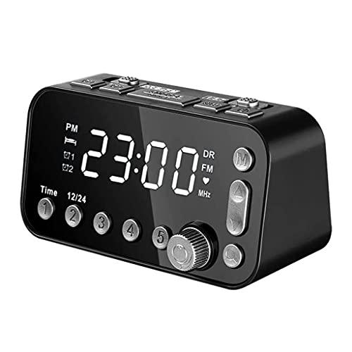 Aiglen Reloj de Alarma Digital de la cabecera, Reloj LED con Radio Dual USB Dab/FM, Brillo de 3 Niveles Ajustable, Ajuste de Reloj de Alarma Dual