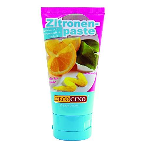 Decocino Zitronenpaste g vegane natürliche Aromapaste mit geriebenen Zitronenschalen – zum Backen für Kuchen Cremes Toppings und Desserts, Zitrone, 50 gramm