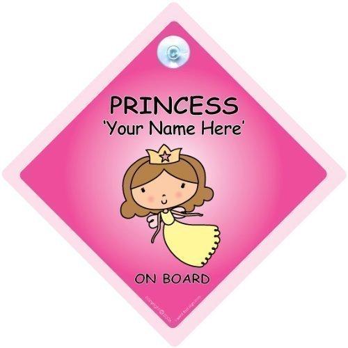 Prinzessin an Bord Schild,Personalisiert mit Ihrem Eigenen Name,Baby On Board Zeichen,Benutzerdefiniertes We'Ll Füge Jedes Name um zu Erstellen Sie Ihr A,A Auto Custom Stoßstange Aufkleber Baby,Baby
