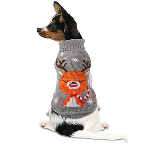 Idepet Maglioncino Cane Natale, Cappottino Cane con Renna di Natale Design per Halloween Natale Autunno Inverno Rosso S (XXXL, Grigio)