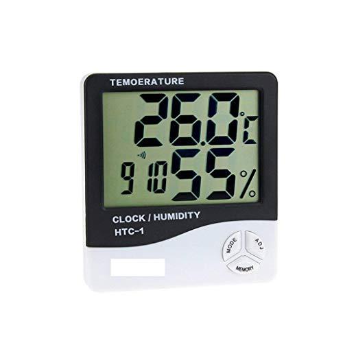 FENXIXI Termómetro Higrómetro Digital Temperatura Humedad Medidor Interior Higrómetro Termómetro con Reloj Calendario Alarma Retroiluminación