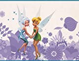 GUVICINIR Disney Fairies Tinker Bell Fawn Iridessa Rosetta Silvermist Periwinkle Purple White Wallpaper Border for Kids Bedroom Playroom Living Room, Roll 15' x 9'