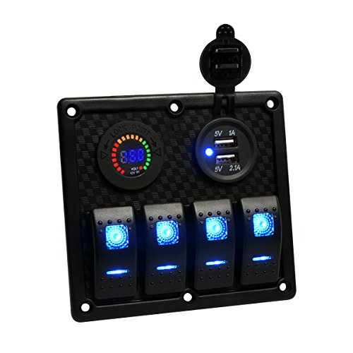 TEQStone Marine Boat Rocker Switch Panel 4 Gang With Double USB Slot LED Light for Car Rv Vehicles Truck(Voltmeter)