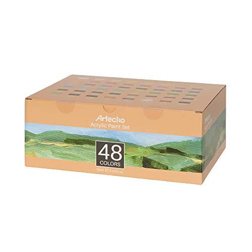 Artecho Acrylfarben Set 48 Stück, 59ml hochwertige Acrylfarbe je Tube